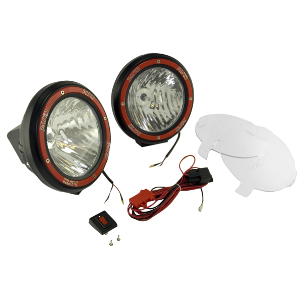 "7"" Round HID Off Road Light Pair in Black with Wiring Harness"